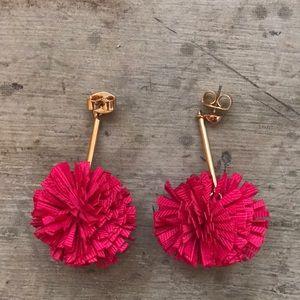 Hot pink J.Crew carnation earrings